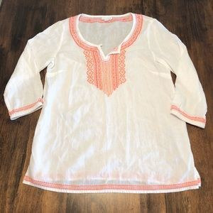 J. Jill Linen Blend Pink Embroidered Blouse